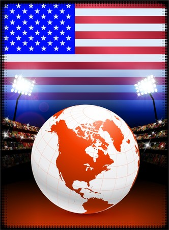 Globe on Stadium Background with USA Flag Original Illustration illustration