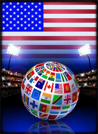 Flag Globe on USA Stadium Soccer Match Original Illustration