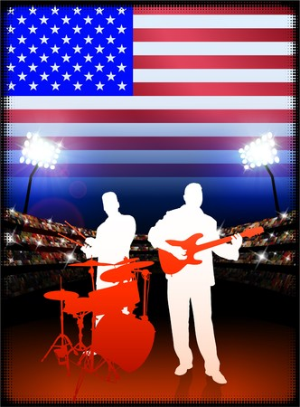 USA Live Music Band on Stadium Concert Background with Flag Original Illustration illustration
