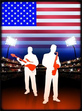 USA Live Music Band on Stadium Concert Background with Flag Original Illustration illustration