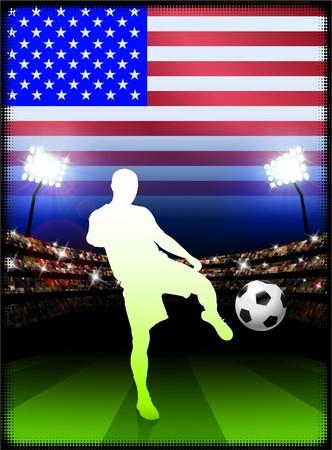USA Soccer Player on Stadium Background with FlagOriginal Illustration Stock Illustration - 7217053