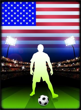 USA Soccer Player on Stadium Background with Flag Original Illustration illustration