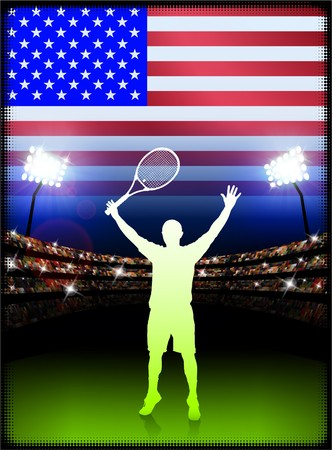 racket stadium: USA Tennis Player on Stadium Background with Flag Original Illustration