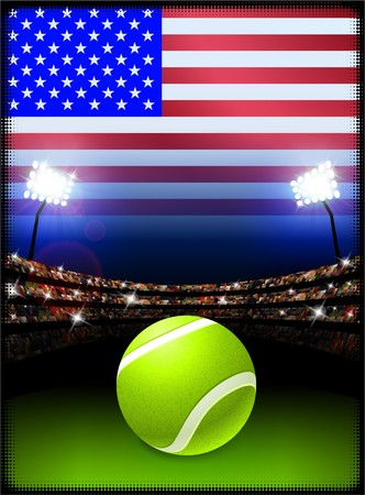 United States Flag on Stadium Background during Tennis Match Original Illustration illustration