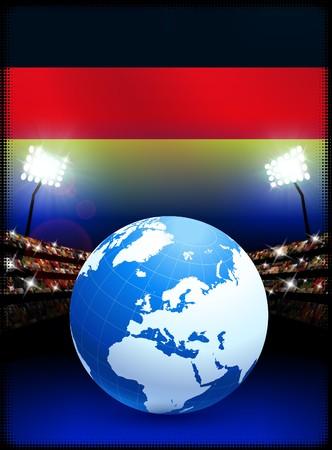 Globe on Stadium Background with Germany Flag Original Illustration illustration