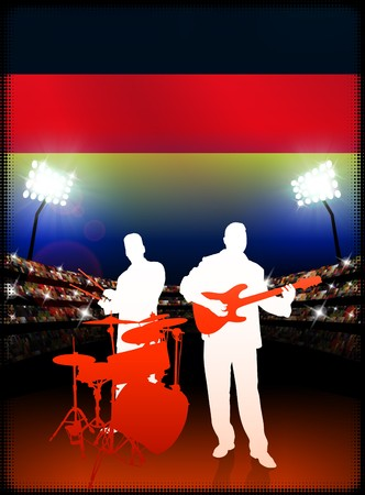 Germany Live Music Band on Stadium Concert Background with Flag Original Illustration
