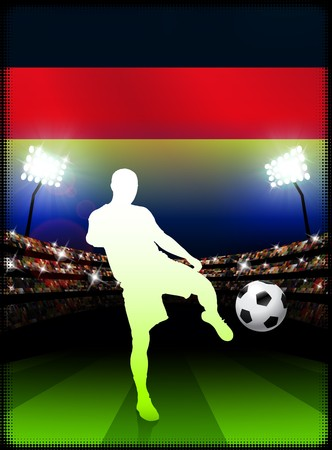 Germany Soccer Player on Stadium Background with Flag