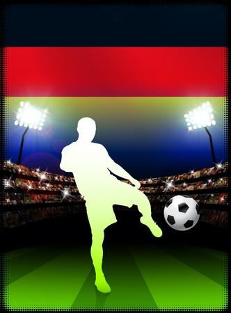 Germany Soccer Player on Stadium Background with FlagOriginal Illustration Stock Illustration - 7222373