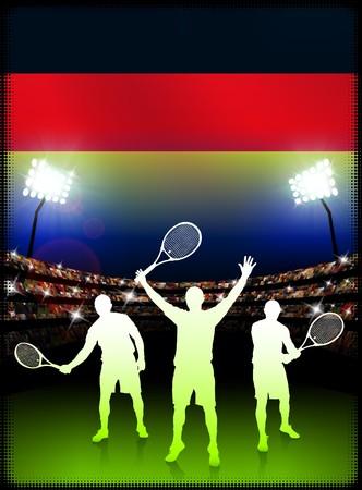racket stadium: Germany Tennis Player on Stadium Background with Flag Original Illustration Stock Photo