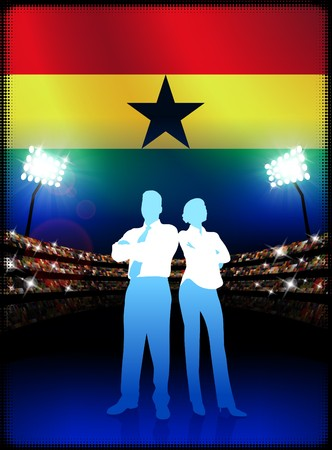 cheer leader: Ghana Business Couple on Stadium Background with Flag Original Illustration Stock Photo