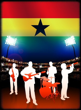 Ghana Live Music Band on Stadium Concert Background with Flag Original Illustration