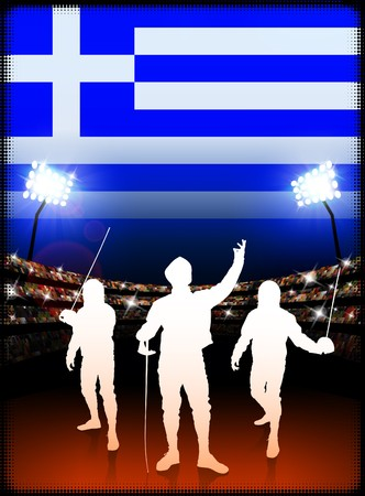 cross match: Greece Fencing on Stadium Background with Flag Original Illustration