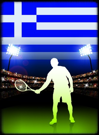 cross match: Greece Tennis Player on Stadium Background with Flag Original Illustration