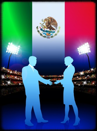 Mexico Business Couple on Stadium Background with Flag Original Illustration illustration