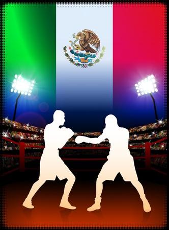 Mexico Boxing Event with Stadium Background and Flag Original Illustration illustration