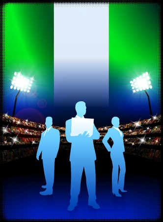Nigeria Business Team on Stadium Background with Flag Original Illustration illustration