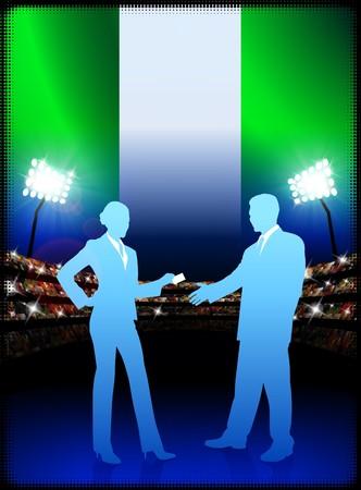cheer leader: Nigeria Business Couple on Stadium Background with Flag Original Illustration
