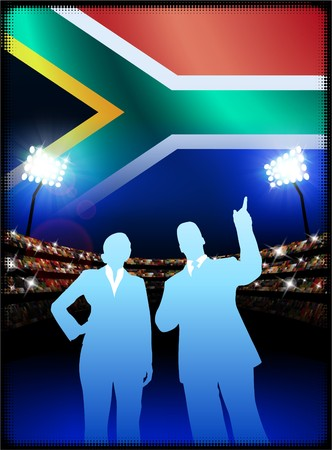 South Africa Business Couple on Stadium Background with Flag Original Illustration illustration