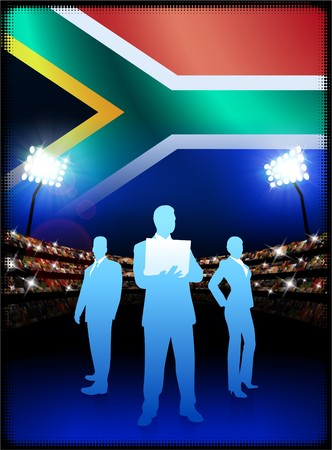 South Africa Business Team on Stadium Background with Flag Original Illustration illustration