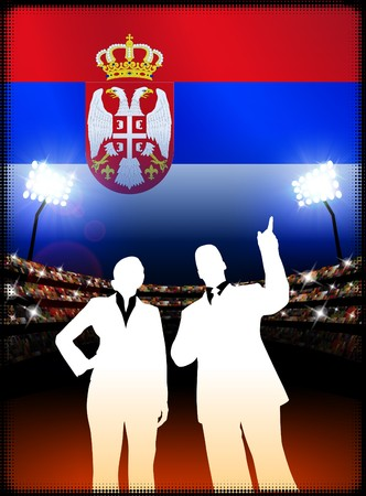Serbia Business Couple on Stadium Background with Flag Original Illustration Imagens