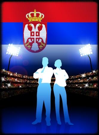 serbia: Serbia Business Couple on Stadium Background with Flag Original Illustration Stock Photo