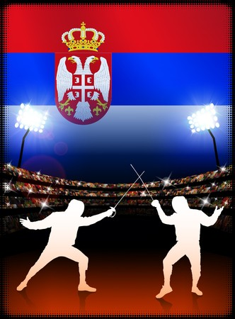 Serbia Fencing on Stadium Background with Flag Original Illustration