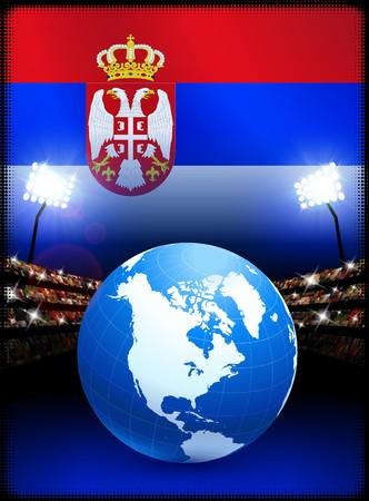 Globe on Stadium Background with Serbia Flag Original Illustration
