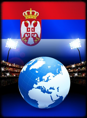 serbia: Globe on Stadium Background with Serbia Flag Original Illustration