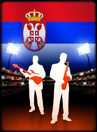 Serbia Live Music Band on Stadium Concert Background with Flag Original Illustration Imagens