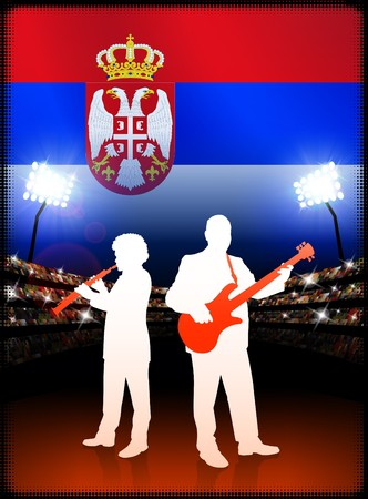 Serbia Live Music Band on Stadium Concert Background with Flag