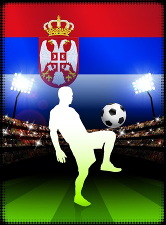 serbia: Serbia Soccer Player on Stadium Background with Flag Original Illustration