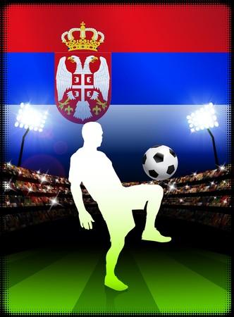 serbia: Serbia Soccer Player on Stadium Background with Flag Original Illustration