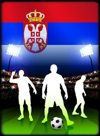 Serbia Soccer Player on Stadium Background with Flag Original Illustration illustration