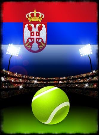 serbia: Serbia Flag on Stadium Background during Tennis Match Original Illustration Stock Photo