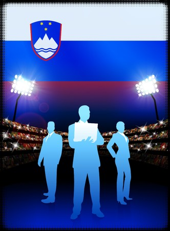 cheer leader: Slovenia Business Team on Stadium Background with Flag Original Illustration