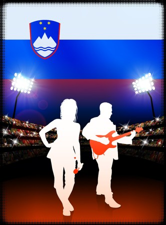 Slovenia Live Music Band on Stadium Concert Background with Flag