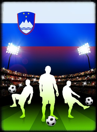 Slovenia Soccer Player on Stadium Background with Flag