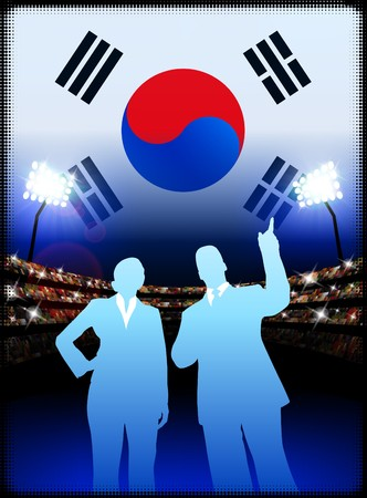 cheer leader: South Korea Business Couple on Stadium Background with Flag Original Illustration