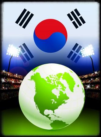 Globe on Stadium Background with South Korea Flag Original Illustration Stok Fotoğraf