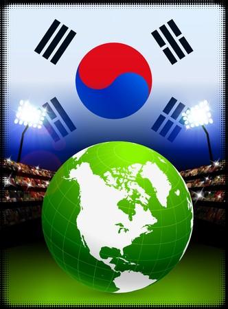 Globe on Stadium Background with South Korea Flag Original Illustration illustration