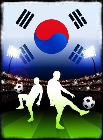 South Korea Soccer Player on Stadium Background with Flag Original Illustration illustration
