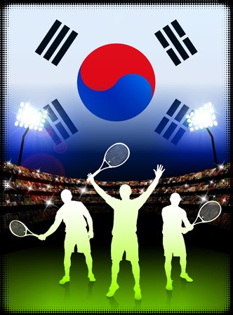 South Korea Tennis Player on Stadium Background with Flag Original Illustration illustration