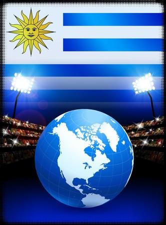Globe on Stadium Background with Uruguay Flag Original Illustration