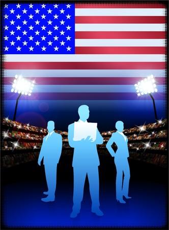 cheer leader: USA Business Team on Stadium Background with Flag Original Illustration