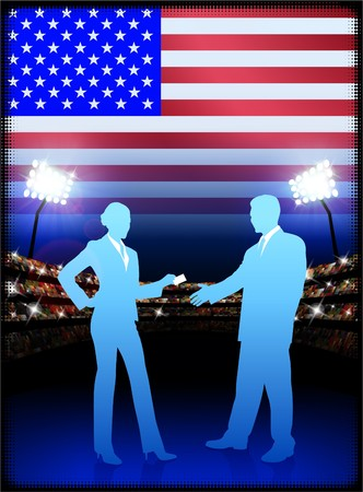 president of the usa: USA Business Couple on Stadium Background with Flag Original Illustration Stock Photo