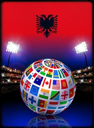 Albania Flag Globe on Stadium BackgroundOriginal Illustration Stock Illustration - 7264630