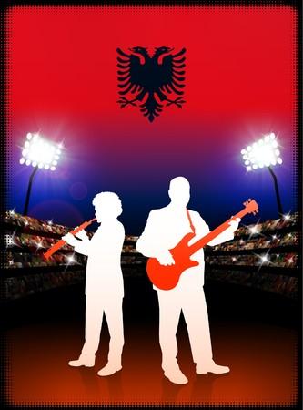 Live Music Band with Albania Flag on Stadium Background Original Illustration illustration