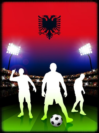 Albania Soccer Player with Flag on Stadium Background