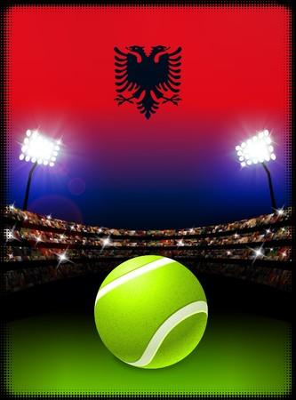Albania Flag and Tennis Ball on Stadium Background Original Illustration