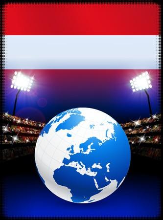 Austria Flag with Globe on Stadium BackgroundOriginal Illustration Stock Illustration - 7264130